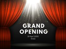 Grand opening poster with red curtains at theater stage. Theater curtain, gold sparks and spotlight beam on dramatic stock illustration