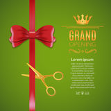 Grand Opening red ribbon and bow. Open ceremony scissor ribbon cut background.  Royalty Free Stock Images