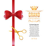 Grand Opening red ribbon and bow. Open ceremony scissor ribbon cut background Stock Photo