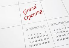 Grand Opening in red. Grand Opening text in red on a calendar Stock Photography
