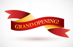 Grand opening red waving ribbon banner Royalty Free Stock Photo