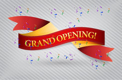 Grand opening red waving ribbon banner Royalty Free Stock Images