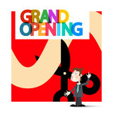 Grand Opening Retro Vector with Business Man Stock Image