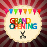 Grand Opening Retro Vector Illustration with Scissors Stock Photos