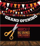 Grand opening scissors, red ribbon and bunting background Stock Photo