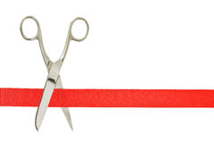 Grand opening. Scissors and red ribbon isolated on white, opening concept Stock Photo
