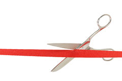 Grand opening. Scissors and red ribbon isolated on white, opening concept Stock Photos