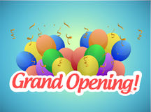 Grand opening sign and balloons illustration Stock Photos