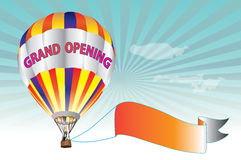 Grand Opening Sign - colorful hot air balloon Stock Photos