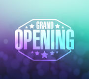 grand opening sign over a aqua and purple vector illustration