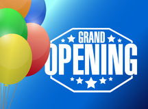 grand opening sign stamp and balloons background stock illustration