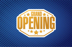 Grand opening sign stamp blue background Stock Image