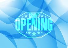 Grand opening sign stamp blue shapes background Royalty Free Stock Photo