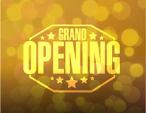 grand opening sign stamp bokeh background royalty free illustration
