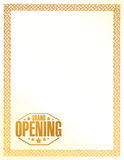 Grand opening sign stamp gold border background Stock Photos