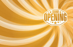 grand opening sign stamp gold waves background stock illustration