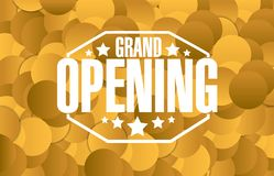 Grand opening sign stamp golden background Royalty Free Stock Photography