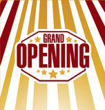 grand opening sign stamp rays of light background stock illustration