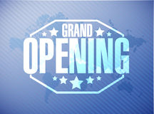 grand opening sign stamp world map background Stock Images