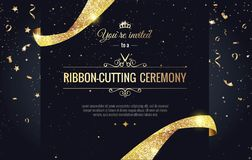 Grand opening sparkling banner. Text composition with  golden splashes  and ribbons.Gold sparkles.  Elegant style. Vector Illustration Stock Image