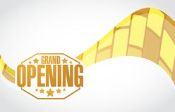 Grand opening stamp sign gold wave background Stock Images