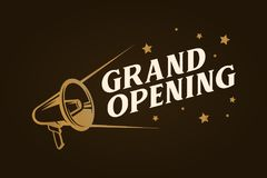 Grand opening template, banner, poster. Vector vintage illustration. Royalty Free Stock Photos