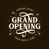 Grand opening template, banner, poster. Vector vintage illustration. Stock Photography