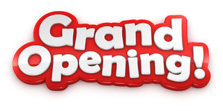 Grand Opening text banner on white background