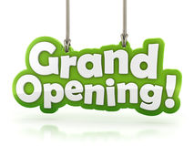 Grand Opening text  hanging on white background