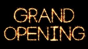 Grand Opening Text Sparkler Glitter Sparks Firework Loop Animation stock footage