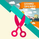 Grand Opening Title with Scissors Royalty Free Stock Photo