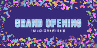 Grand opening vector background with festive confetti and swirl. Template design element for store opening event can be used as banner Stock Images