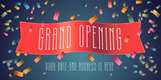 Grand opening vector banner with festive firework and red ribbon. Template design element for opening ceremony can be used as background or poster Stock Photos