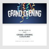 Grand opening vector banner, invitation card. Grand opening vector banner, illustration, invitation card. Template festive invite design with text for opening stock illustration