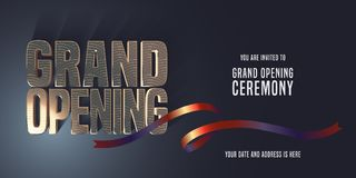 Grand opening vector banner, invitation stock illustration
