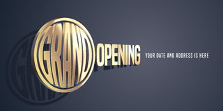 Grand opening vector banner with magnifying glass Royalty Free Stock Photo