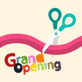 Grand Opening Vector Design with Ribbon. And Scissors stock illustration
