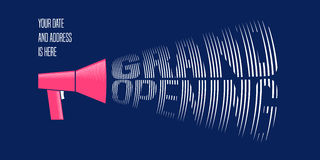 Grand opening vector illustration with announcement mouthpiece. Template concept design element for store opening ceremony can be used as banner, flyer Stock Images