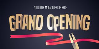 Grand opening vector illustration, background with cut out golden sign and scissors cutting red ribbon. Template banner, flyer for opening ceremony royalty free illustration