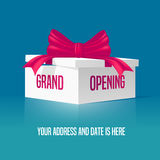 Grand opening vector illustration, background. With gift box and red ribbon. Template banner, design element for opening event Stock Photos
