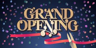 Grand opening vector illustration, background with golden lettering sign and scissors cutting ribbon. Template banner, flyer for opening ceremony Royalty Free Stock Photo