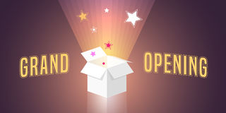 Grand opening vector illustration. Background with open gift box and swirl. Template banner, design element for opening ceremony Stock Image
