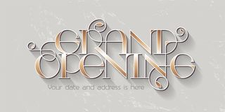 Grand opening vector illustration, banner. Grand opening vector illustration, background for new store with elegant lettering. Template banner, design element stock illustration