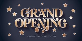 Grand opening vector illustration, banner. Grand opening vector illustration, background for new store, etc with vintage style sign. Template banner, design stock illustration