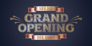 Grand opening vector illustration with golden sign and ribbons Royalty Free Stock Image