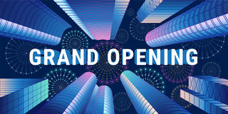 Grand opening vector illustration with sign and abstract background Royalty Free Stock Photos