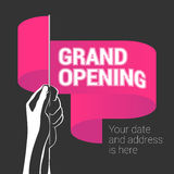 Grand opening vector illustration with wavy banner in the hand Royalty Free Stock Photos