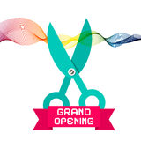 Grand Opening Vector with Scissors Stock Image