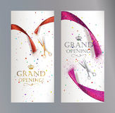 Grand Opening vertical banners with abstract red and pink ribbon and scissors Stock Photography