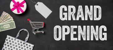 Grand opening written on a blackboard. Shopping concept- Grand opening written on a blackboard Stock Image